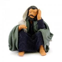 Uomo seduto che riposa in terracotta vestita 12 cm