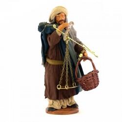 Uomo con bilance terracotta vestita 12 cm