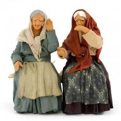 Coppia donne pettegole terracotta vestita 12 cm