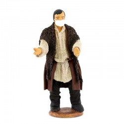 Pastore uomo con mascherina in terracotta vestita 12 cm