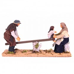 Dressed terracotta Family on a swing 12 cm