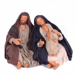 Dressed terracotta sleeping nativity scene 12 cm