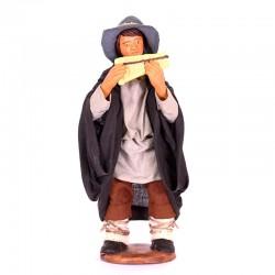Dressed terracotta Flute player 12 cm