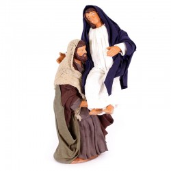 Dressed terracotta Saint Joseph with pregnant Madonna 12 cm