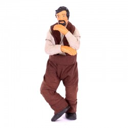 Dressed terracotta standing man thinking 12 cm