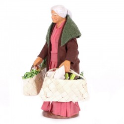 Dressed terracotta old lady with shopping bags 12 cm