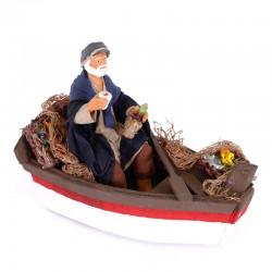 Dressed terracotta fisherman in a boat 12 cm