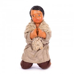 Dressed terracotta kneeling Boy-A praying 12 cm
