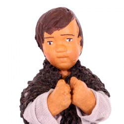 Dressed terracotta kneeling Boy-B praying 12 cm
