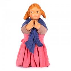 Dressed terracotta kneeling Girl-A praying 12 cm