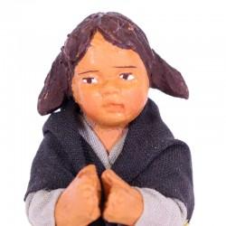 Dressed terracotta kneeling Girl-B praying 12 cm
