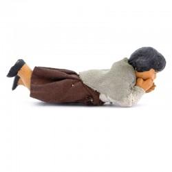 Dressed terracotta Girl-B lying down 12 cm