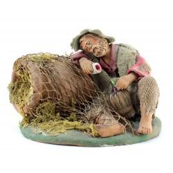 Beone dormiente con fiasco in mano in terracotta vestita 12 cm