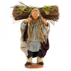Pastore con legna sulle spalle in terracotta vestita 12 cm