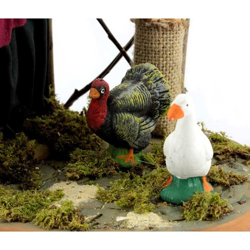 Donna con tacchino e gallina in terracotta vestita 30 cm for Arredi gallina
