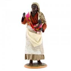 Zingara con bimbo in braccio in terracotta vestita 30 cm