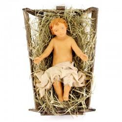 Gesù bambino in culla terracotta vestita 30 cm