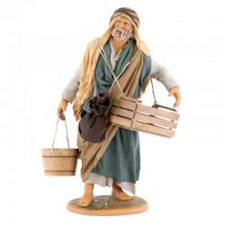 Uomo con tinozza e cassetta terracotta vestita 30 cm