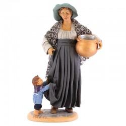 Donna incinta con bimbo terracotta vestita 30 cm