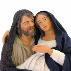 Dressed terracotta Saint Joseph and pregnant Virgin 30 cm