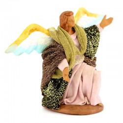Kneeling Angel in terracotta with clothes 10 cm