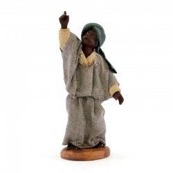 Black man with rising hand in terracotta with clothes 10 cm