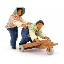 Scene of kids playing with cart in terracotta with clothes 10 cm