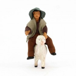 Little boy on sheep in terracotta with clothes 10 cm