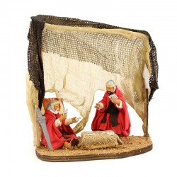 Couple of dressed soldiers playing cards in terracotta 10cm
