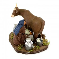 Milking cow man in terracotta with clothes 10 cm