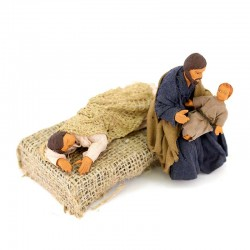 Sleeping Madonna and Saint Joseph with child in terracotta 10 cm