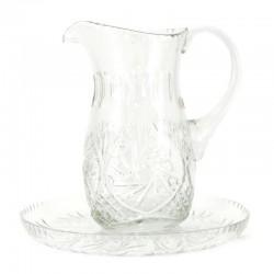 Brocca lavabo  con piatto in cristallo molato 20 cm