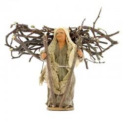 Vecchina con legna sulle spalle terracotta vestita 10 cm