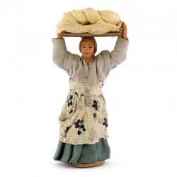 Donna tavola con pane in testa terracotta vestita 10 cm