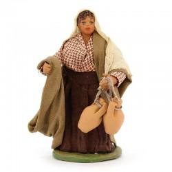 Donna con anforette in terracotta vestita 10 cm