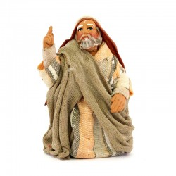 Kneeling man pointing in terracotta with clothes 10 cm