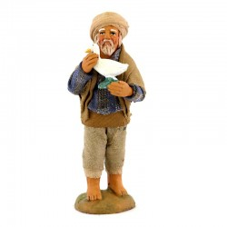 Man with goose on hand in terracotta with clothes 10 cm