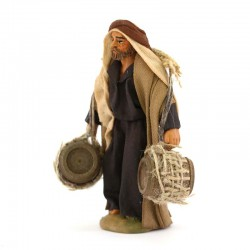 Man with hanging barrels in terracotta with clothes 10 cm
