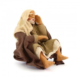Sitting man resting in terracotta with clothes 10 cm