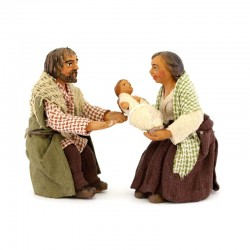 Scene of family in terracotta with clothes 10 cm