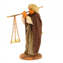 Man with weight scales with clothes in terracotta 10 cm