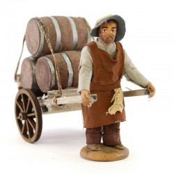 Man carrying cart of barrels in terracotta with dresses 10 cm