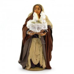 Woman with basket of cats in dressed terracotta 10 cm