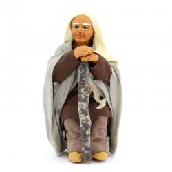 Old man sitting with stick in dressed terracotta 10 cm