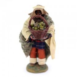 Black shepherd with basket of olives in dressed terracotta 10 cm