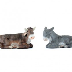 Terracotta and Clothing Donkey and Ox 10 cm