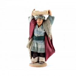 Man with box of apples on the head in terracotta with clothes 10 cm