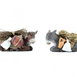 Terracotta and Clothing Donkey and Ox Pair 10 cm