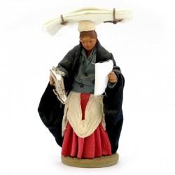 Donna con Fazzoletti in terracotta vestita 10 cm