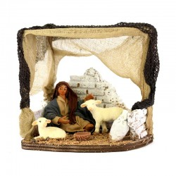 Shed with a woman and little lambs in terracotta with dress 10 cm